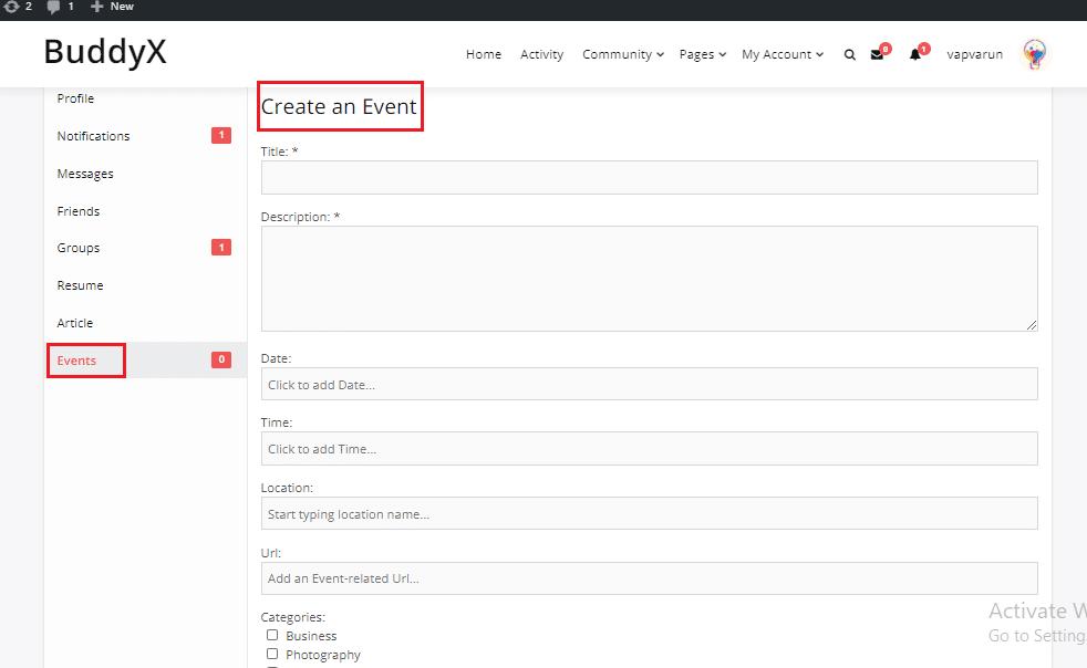 Simple Event BuddyPress Plugin