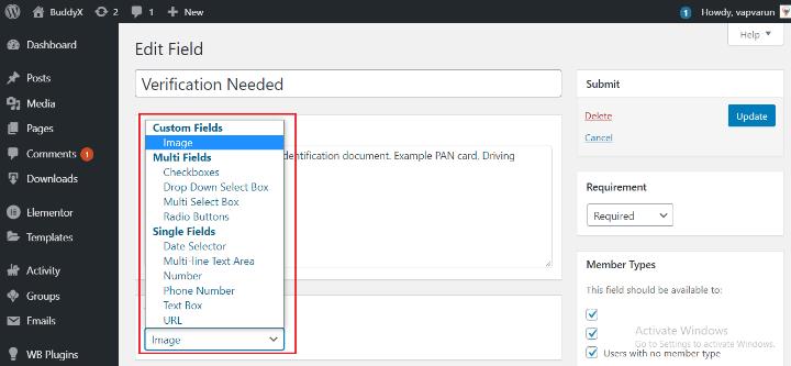 BuddyPress profile custom field plugin