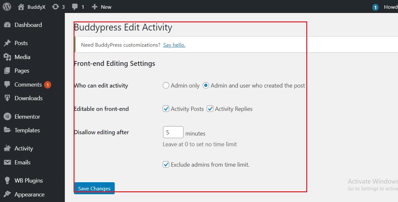 BuddyPress Activity Edit Settings