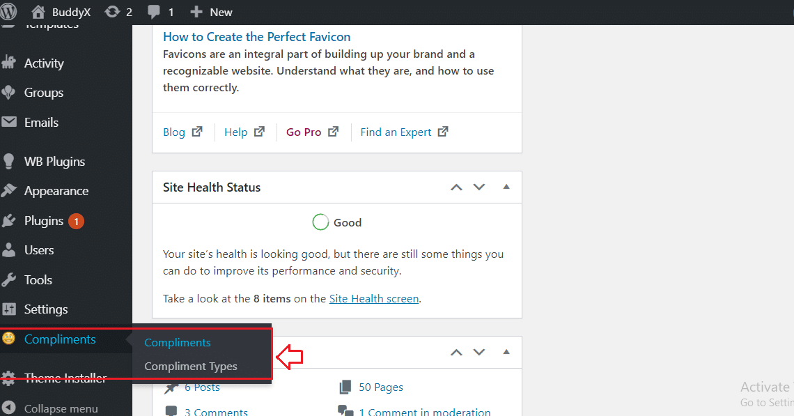 BuddyPress Compliments Settings